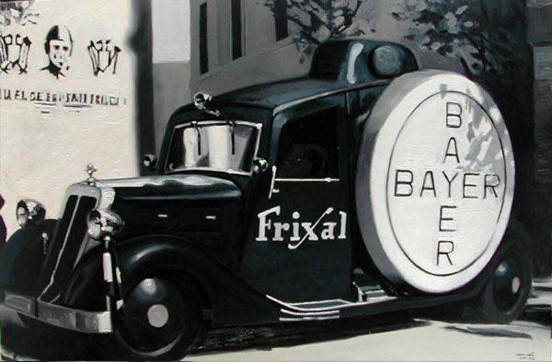 Coche-sonoro-Bayer-en-la-España-nacional-130x195cm