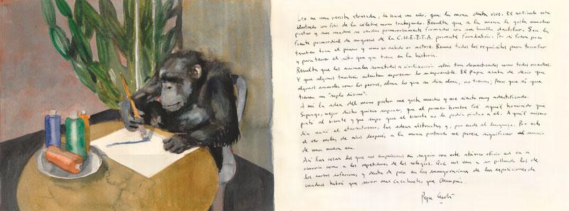 La-mona-Chita-Acuarela-y-tinta-sobre-papel-29x76cm