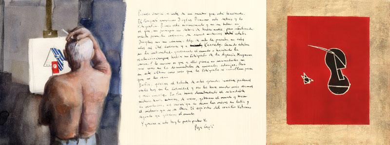 Picasso-1-Acuarela-pan-de-oro-y-tinta-sobre-papel-29x76cm