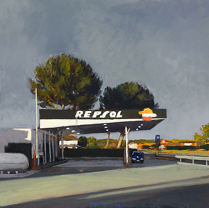 Gasolinera-al-atardecer-Oleo-sobre-lienzo-40x40cm