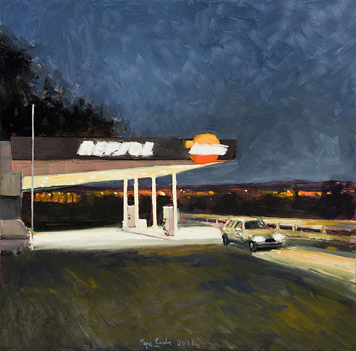 Gasolinera-con-coche-Oleo-sobre-lienzo-40x40cm