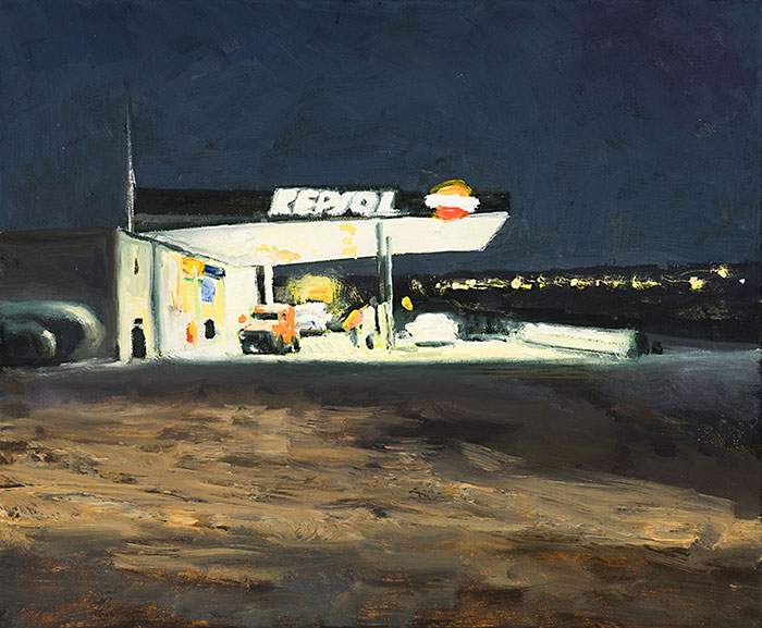 Gasolinera-en-la-noche-Oleo-sobre-lienzo-40x40cm