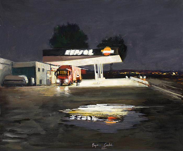 Gasolinera-en-la-noche-Oleo-y-acrilico-sobre-lienzo-200x250cm