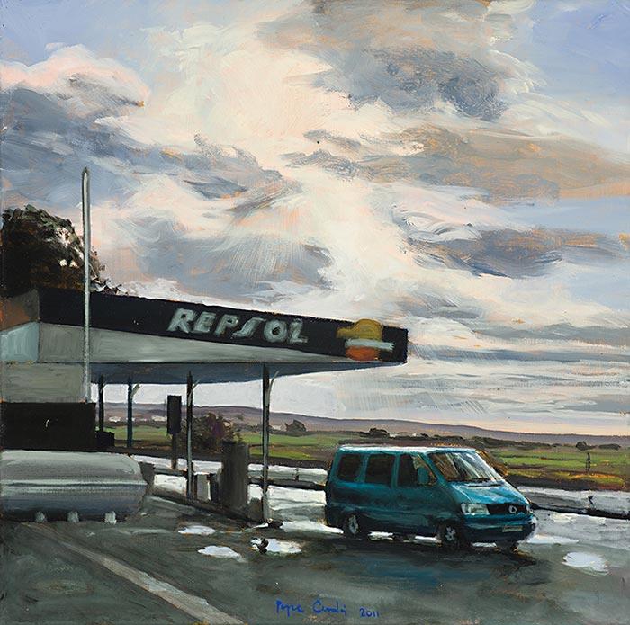Gasolinera-y-furgoneta-Oleo-sobre-lienzo-40x40cm